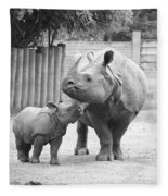 Rhino Mom And Baby Fleece Blanket