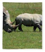 Rhino Mother And Calf - Kenya Fleece Blanket