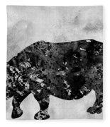 Rhinoceros-black Fleece Blanket