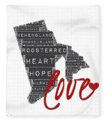 Rhode Island Love Fleece Blanket
