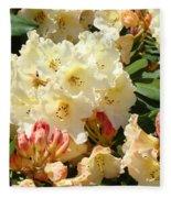 Rhodies Creamy Yellow Orange 3 Rhododendrums Gardens Art Baslee Troutman Fleece Blanket
