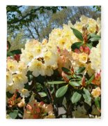 Rhodies Flowers Art Yellow Orange Rhododendrons Garden Fleece Blanket