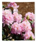 Rhododendron Garden Art Print Pink Rhodies Flowers Baslee Troutman Fleece Blanket