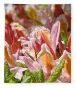 Rhododendrons Floral Art Prints Canvas Pink Orange Rhodies Baslee Troutman Fleece Blanket