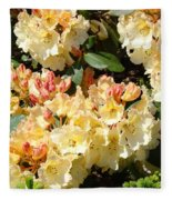 Rhododendrons Garden Art Prints Creamy Yellow Orange Rhodies Baslee Fleece Blanket