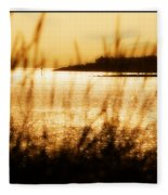 Rhos Point Viewed Through Beach Grass Fleece Blanket