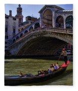 Rialto Bridge In Venice Italy Fleece Blanket