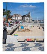 Ribeira Beach In Cascais Portugal Fleece Blanket