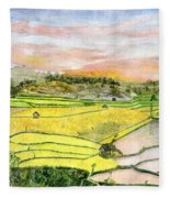 Ricefield Terrace Fleece Blanket