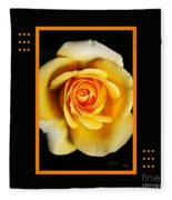 Rich And Dreamy Yellow Rose  With Design Fleece Blanket