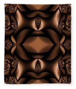 Rich Coffee Fractal Roses Fleece Blanket