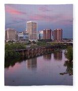 Richmond Skyline Sunset Pink Fleece Blanket