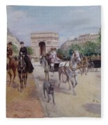 Riders And Carriages On The Avenue Du Bois Fleece Blanket