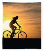 Riding At Sunset Fleece Blanket