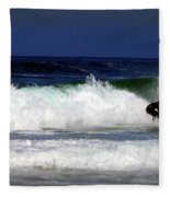 Riding The Waves At Asilomar State Beach Four Fleece Blanket