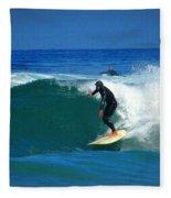 Riding The Waves At Asilomar State Beach Three Fleece Blanket