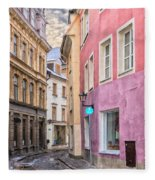 Riga Narrow Road Digital Painting Fleece Blanket