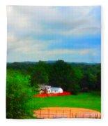 Right Field And Green Meadows Fleece Blanket