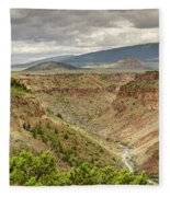 Rio Grande Gorge At Wild Rivers Recreation Area Fleece Blanket
