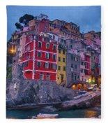 Riomaggiore In Cinque Terre Italy Painterly Fleece Blanket