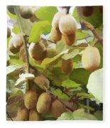Ripe Kiwi Fruit On The Branch Fleece Blanket