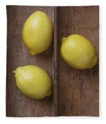Ripe Lemons In Wooden Tray Fleece Blanket