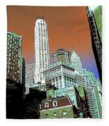 Rising High - New York Wall Street Skyline Fleece Blanket