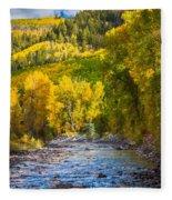 River And Aspens Fleece Blanket