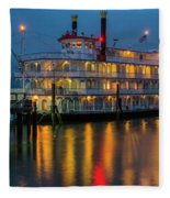 River Boat At Dusk Fleece Blanket