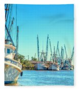 Darien Shrimp Boats Fleece Blanket