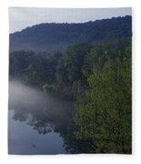River Flowing In A Forest Fleece Blanket