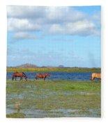River Horses Horizon Fleece Blanket