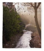 River In Afternoon Sunhaze  Fleece Blanket