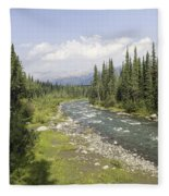 River In Denali National Park Fleece Blanket