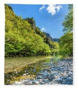 River In Kleidonia Zagora Fleece Blanket