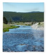 River In Yellowstone Fleece Blanket
