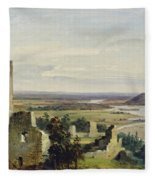 River Landscape With Castle Ruins Fleece Blanket