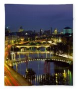 River Liffey Bridges, Dublin, Ireland Fleece Blanket