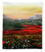 River Of Poppies Fleece Blanket