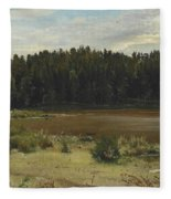 River On The Edge Of A Wood Fleece Blanket