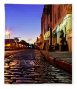 River Street At Dusk Fleece Blanket