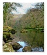River Teign - P4a16010 Fleece Blanket