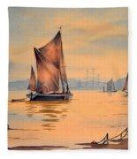 River Thames At Greenwich London Fleece Blanket
