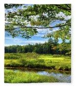 River Under The Maple Tree Fleece Blanket