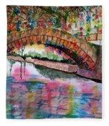 River Walk At Christmas Fleece Blanket