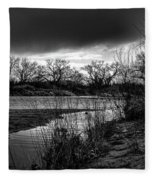 River With Dark Cloud In Black And White Fleece Blanket