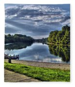 Riverbank Boats Fleece Blanket