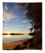 Riverbank Sunset Fleece Blanket