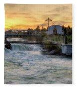 Riverfront Park Sunrise Fleece Blanket