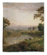 Riverscape In Early Autumn Fleece Blanket